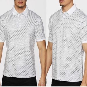 MENS WHITE COLLAR TRIMMED POLO